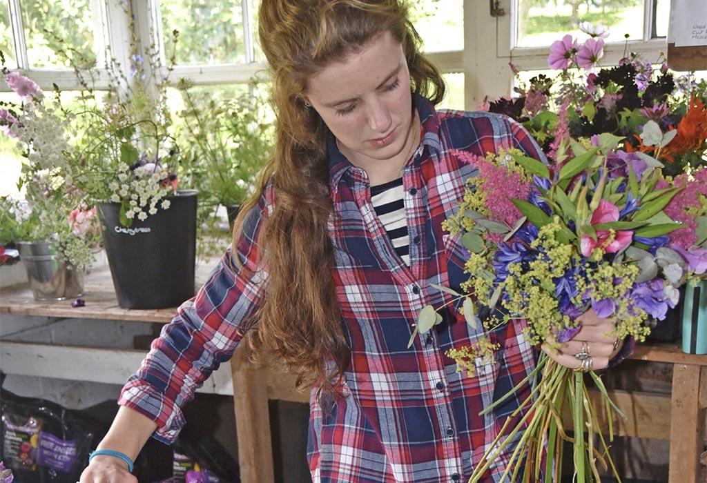 Bess making bouquet