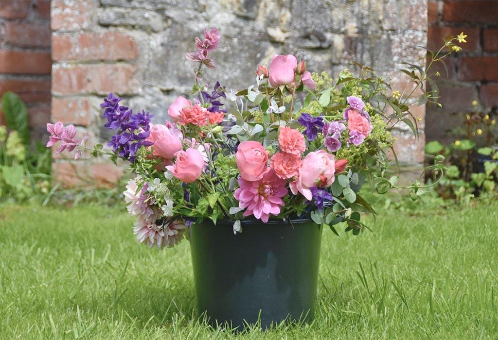 bucket of flowers flower gifts